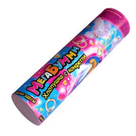 Хлопушка Свадебная МегаБум 200 мм с конфетти бело-розовым